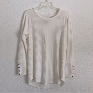 New Chaser Cream White Long Sleeve Sweater Top